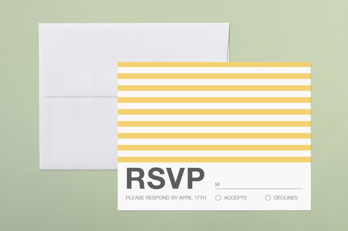 """""""Museum"""" - Monogrammed, Modern Print-it-yourself Rsvp Cards in Daffodil by Robin Ott."""
