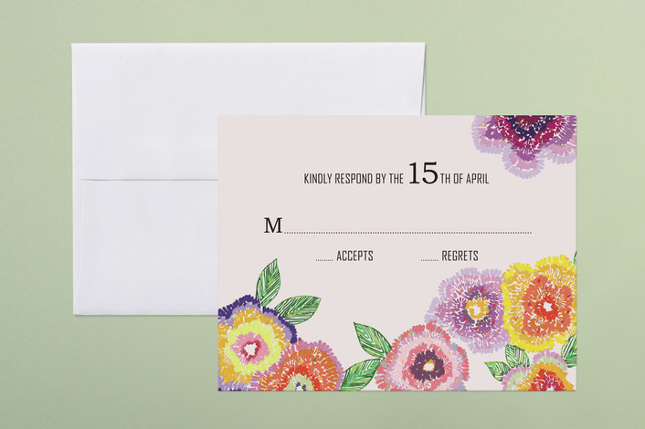 """""""Wildflower Mead"""" - Floral & Botanical Print-it-yourself Rsvp Cards in Lilac by Vanessa An Lim."""