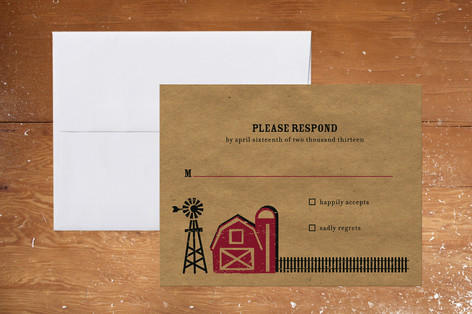 """""""Farm Country"""" - Rustic, Whimsical & Funny Print-it-yourself Rsvp Cards in Red Barn by Mandy Rider."""