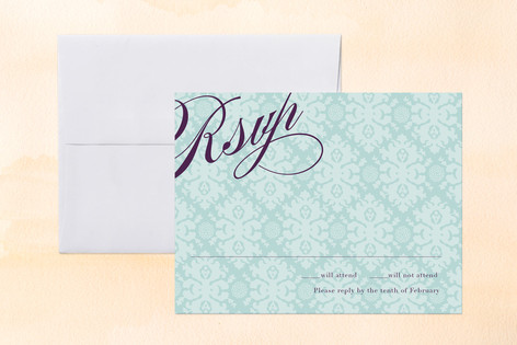 """""""The Gramercy"""" - Classical, Vintage Print-it-yourself Rsvp Cards in Dark Orchid by danielleb."""
