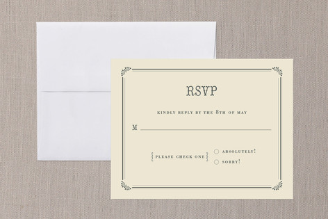 """Stache + Stache"" - Whimsical & Funny Print-it-yourself Rsvp Cards in Crème by Penelope Poppy."