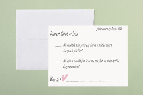 """""""Loved Ones"""" - Simple Print-it-yourself Rsvp Cards in Blush by Lizzy McGinn."""