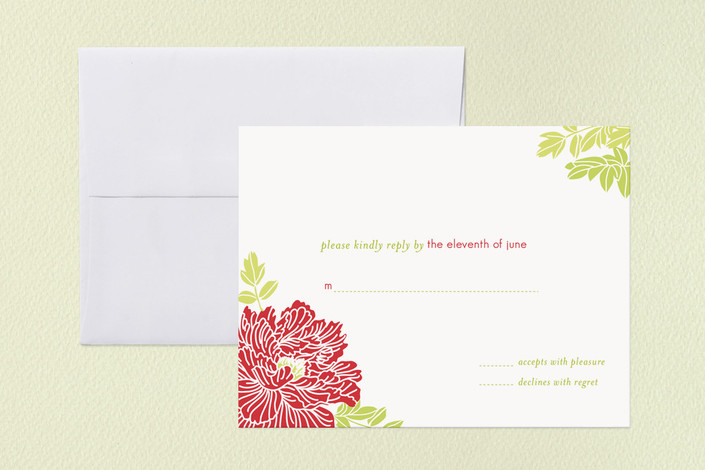 """Red Peony"" - Floral & Botanical Print-it-yourself Rsvp Cards in Red Petal by Coco and Ellie Design."