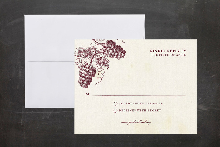 """Tuscany"" - Vintage, Winery Print-it-yourself Rsvp Cards in Wine by Sarah Brown."