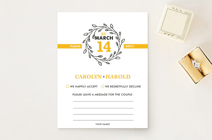 """A New Leaf"" - Monogrammed Print-it-yourself Rsvp Cards in Daffodil by R studio."