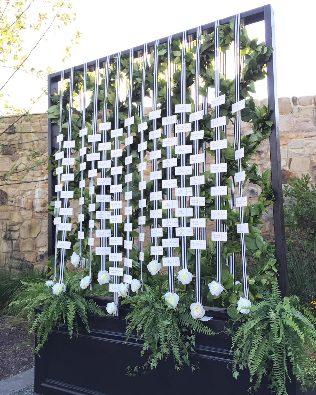 hanging wedding day escort card display