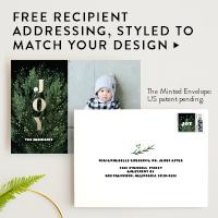 Modern Peace & Joy Letterpress Holiday Photo Cards